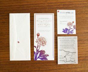 Ranunculus and Ladybugs Wedding Invitation Set: Envelope, Invitation, RSVP Card, and Vellum Insert