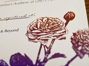 Ranunculus and Ladybugs Wedding RSVP Card