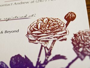 Ranunculus and Ladybugs Wedding RSVP Card